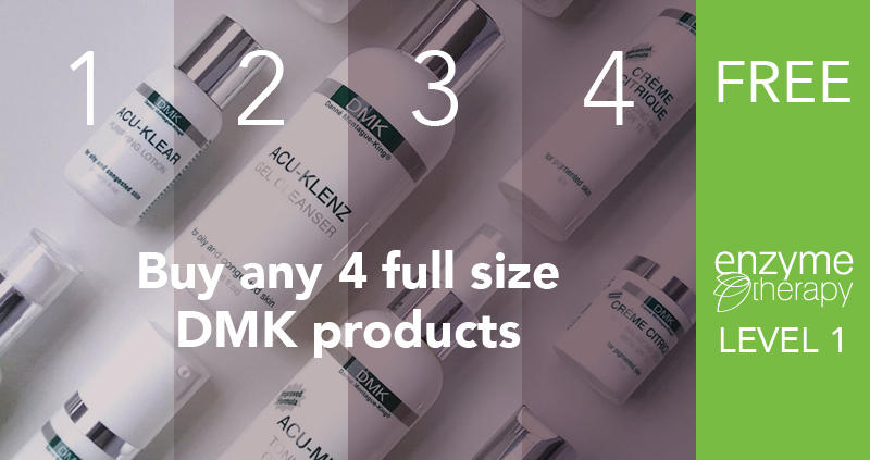 Buy any 4 full size DMK products, receive a FREE Level 1 Enzyme